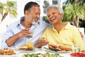 Elderly couple eating healthy