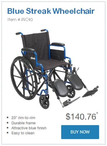 narrow Blue Streak Wheelchair only 23 in wide