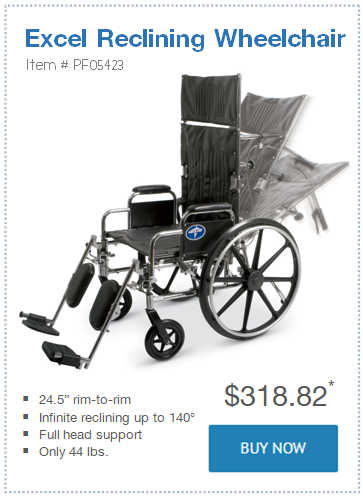 narrow Excel Reclining Wheelchair only 24.5 in wide