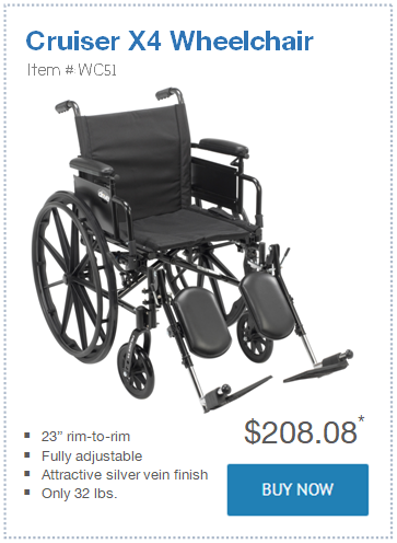 narrow Cruiser X4 Wheelchair only 23 in wide