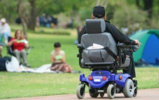 motorized wheelchair user outside