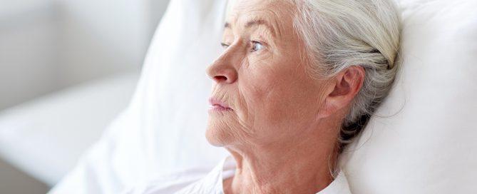 senior woman patient lying