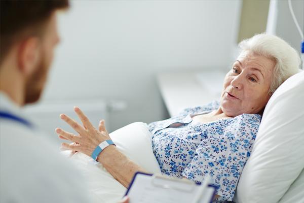 senior woman in hospice