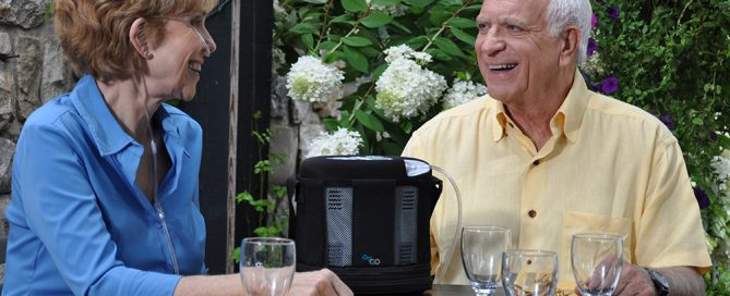 senior using oxygen concentrator