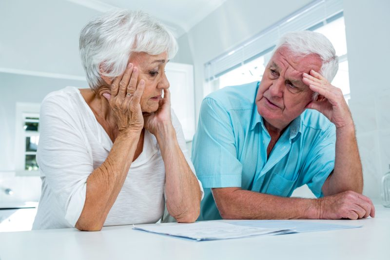 senior couple discussing SSDI