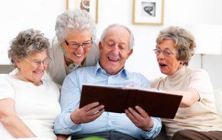 happy seniors in nursing home