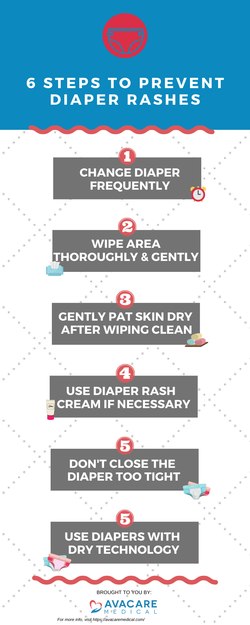 6 STEPS TO PREVENT DIAPER RASHES: 1. Change diaper frequently; 2. Wipe area thoroughly & gently; 3. Gently pat skin dry after wiping clean; 4. Use diaper rash cream if necessary; 5. Don't close the diaper too tight; 6. Use diapers with dry technology