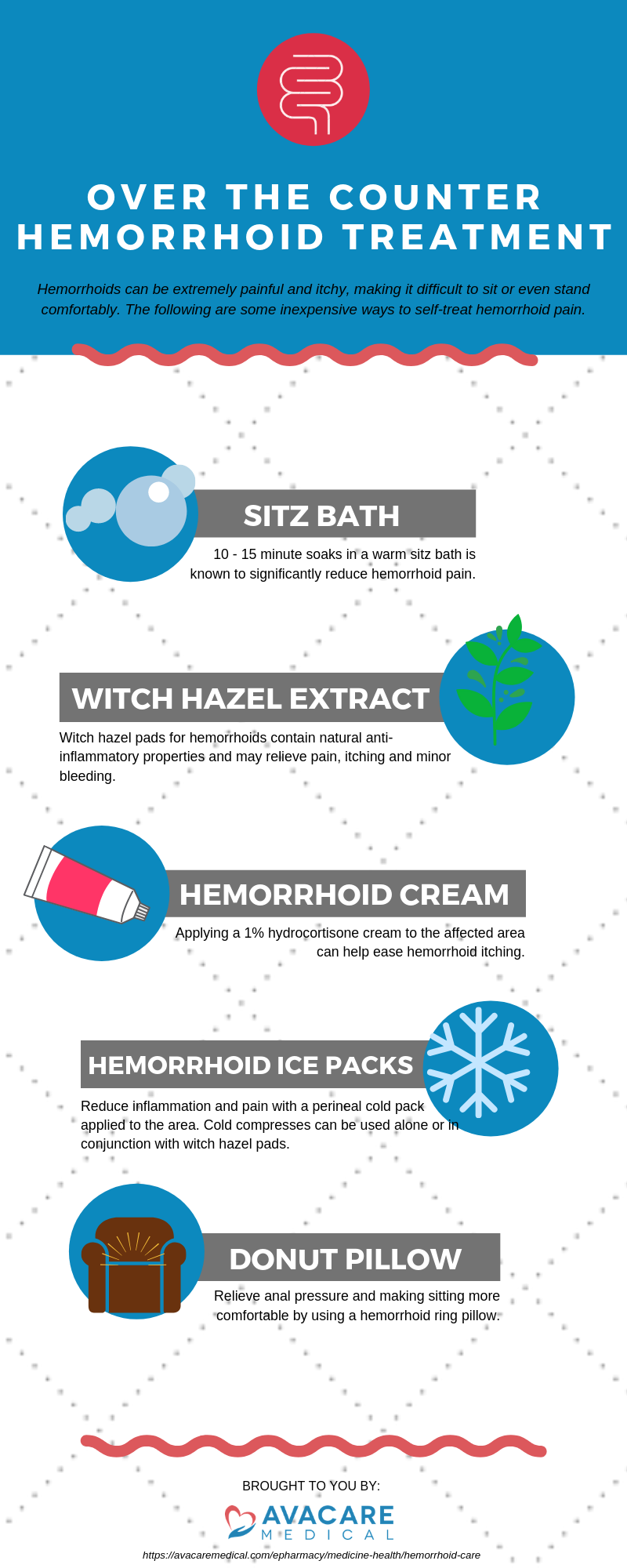 OVER THE COUNTER HEMORRHOID TREATMENT | Hemorrhoids can be extremely painful and itchy, making it difficult to sit or even stand comfortably. The following are some inexpensive ways to self-treat hemorrhoid pain. | Pain Relief - Sitz Bath: 10 - 15 minute soaks in a warm sitz bath is known to significantly reduce hemorrhoid pain. | Itch Relief - Hemmorhoid Cream: Applying a 1% hydrocortisone cream to the affected area can help ease hemorrhoid itching. | Inflammation Reduction - Witch Hazel Extract: Witch hazel pads for hemorrhoids contain natural anti-inflammatory properties and may relieve pain, itching and minor bleeding. | Inflammation Reduction – Hemorrhoid Ice Packs: Reduce inflammation and pain with a perineal cold pack applied to the area. Cold compresses can be used alone or in conjunction with witch hazel pads. | Seated Relief - Donut Pillow: Relieve anal pressure and making sitting more comfortable by using a hemorrhoid ring pillow.