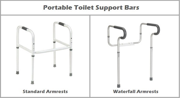 Portable Toilet Support Bars with Standard Armrests vs. Waterfall Armrests