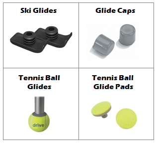 Adult Walker Glide Types: ski glides, glide caps, tennis ball glides, tennis ball glide pads