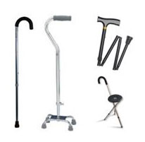 Cane types - single point, multiple point, quad cane, folding and seat canes