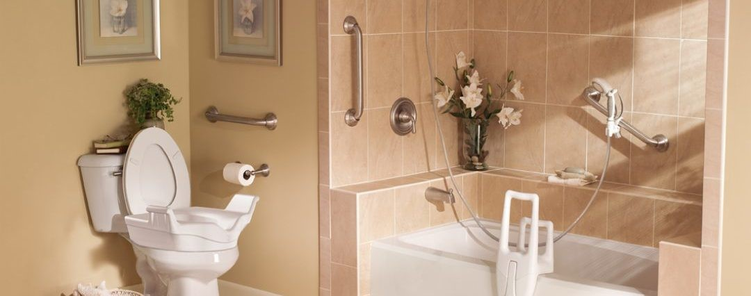 Use grab bars and other bathroom safety aids throughout the bathroom to promote independence and safety